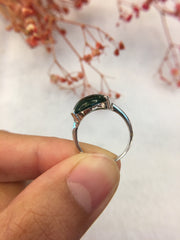 Dark Green Jade Ring - Cabochon (RI197)