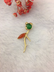 Red & Green Jade Pendant - Bug & Flower (PE208)