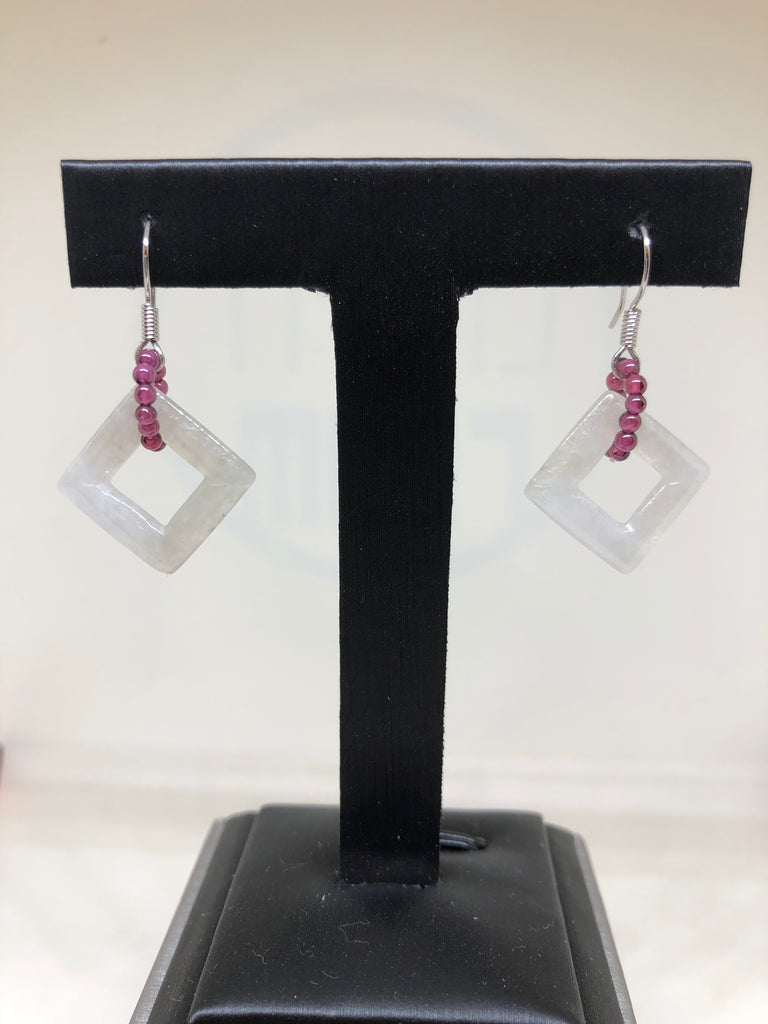 Icy White Earrings - Square (EA222)