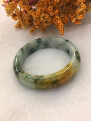 Green With Yellow Jade Bangle - Round (BA235)