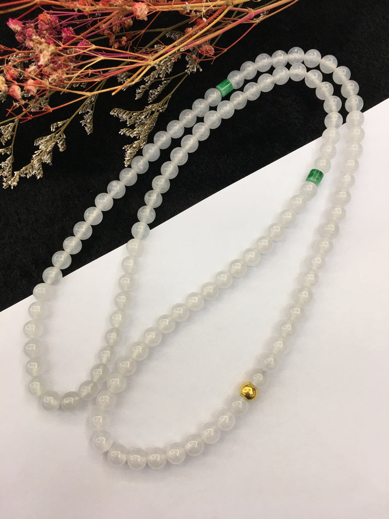 Icy White Jade Necklace - 108 Beads (NE002)