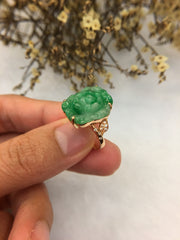 Green Jade Ring - Flower (RI173)
