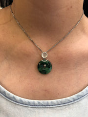 Green & Icy White Pendant - Safety Coin (PE176)