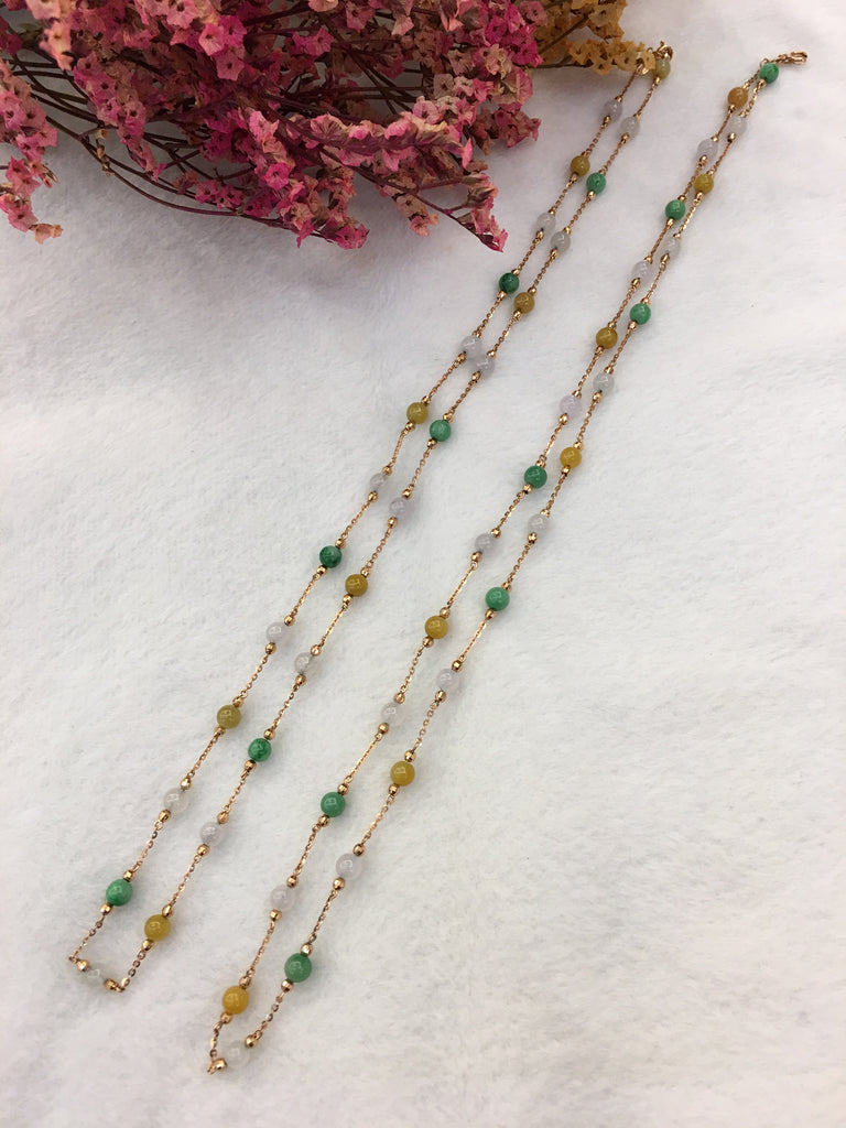 Three Colours Jade Beads Necklaces (NE065)