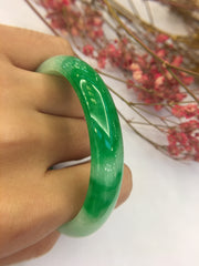 Green Jadeite Bangle - Oval (BA099)
