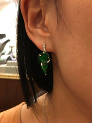 Dark Green Jade Earrings - Leaves (EA295)