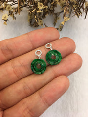 Green Jade Earrings - Coins (EA184)