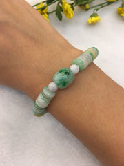 Three Colours Jade Bracelet - Green Barrel (BR053)