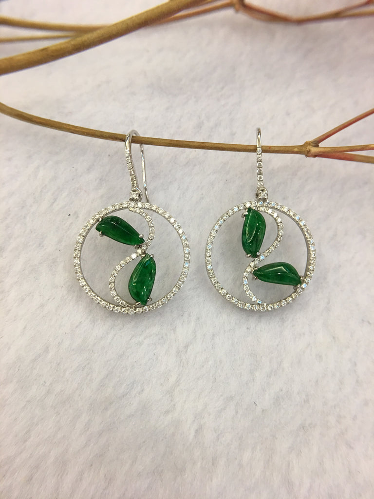 Green Jade Earrings - Irregular (EA290)