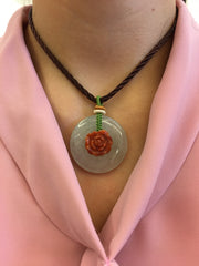 Icy & Red Jade Pendant - Safety Coin & Peony (PE305)