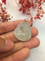 Icy White Jade Pendant - Laughing Buddha (PE022)