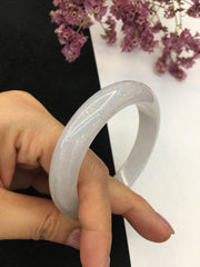 Icy White Jade Bangle - Round (BA192)