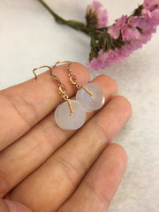 Icy White Jade Earrings - Barrels (EA243)