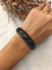 Black Jade Bangle - Round (BA218)