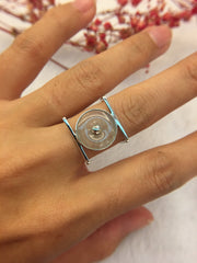 Icy White Jade Ring - Safety Coin (RI142)