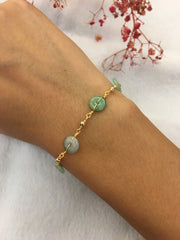 Icy Green Jade Bracelet - Coins (BR220)