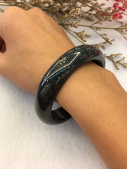 Black Jade Bangle - Round (BA138)