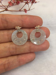 Icy Bluish Flower Jade Earrings - Round (EA286)