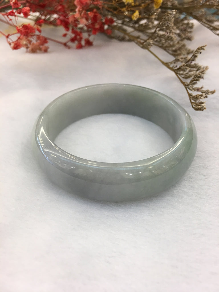 Bluish Lavender With Green Jade Bangle - Round (BA140)