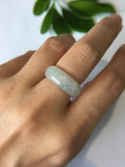 Icy Bluish Flower Jade Hololith Ring (RI088)