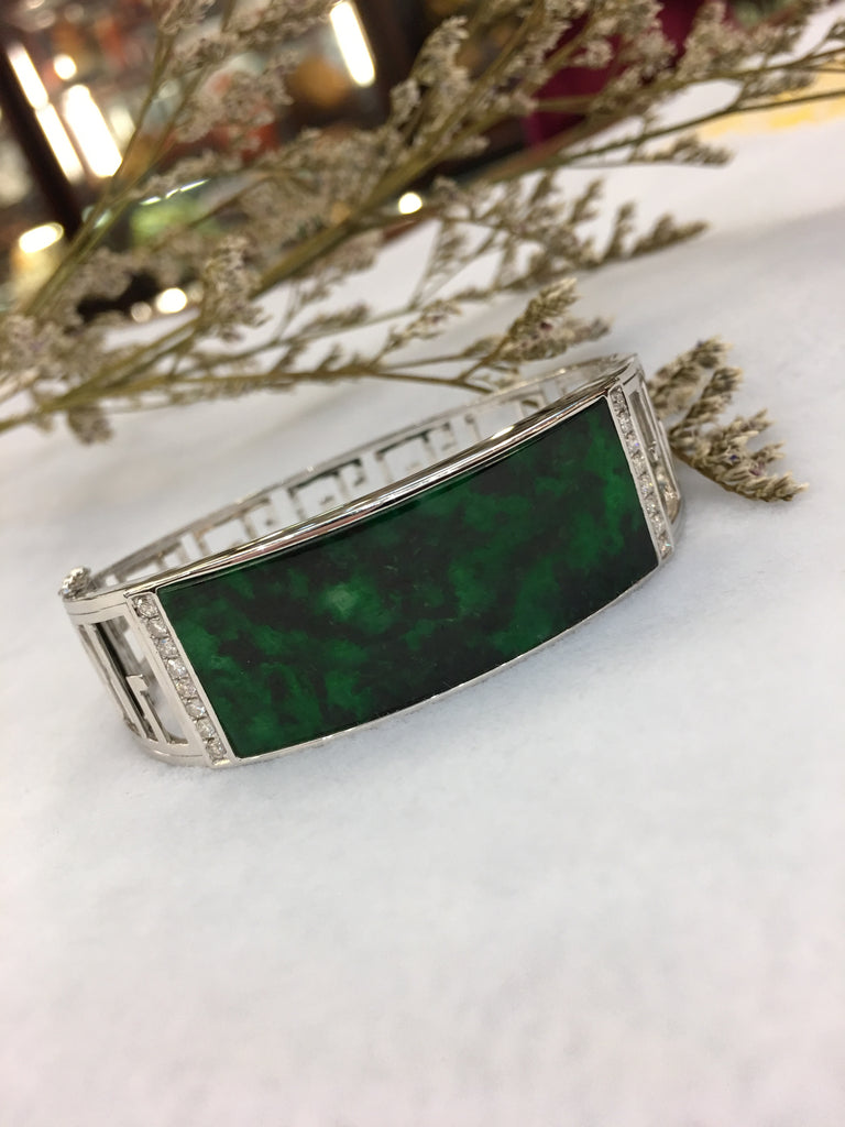 Dark Green Jade Bangle - Oval (BA061)
