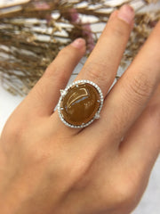 Reddish Yellow Jade Ring - Cabochon (RI009)