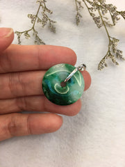 Dark Green Jade Pendant - Safety Coin (PE237)