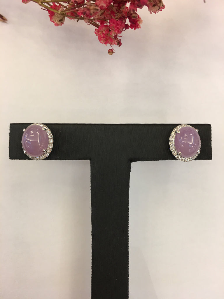 Lavender Jade Earrings - Cabochon (EA278)