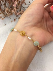 Three Colours Jade Bracelet - Flowers (BR248)