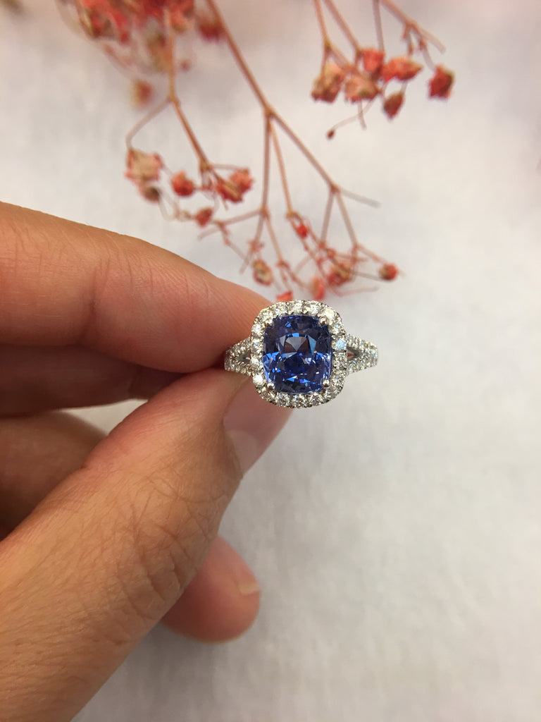 Natural Blue Sapphire Ring (Unheated) (GE039)