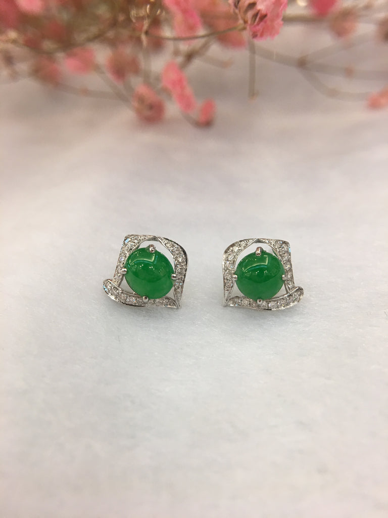 Green Jade Earrings - Cabochon (EA327)