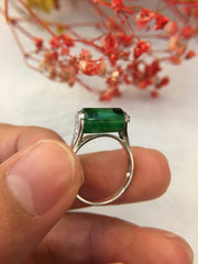 Dark Green Jade Ring - Barrel (RI175)