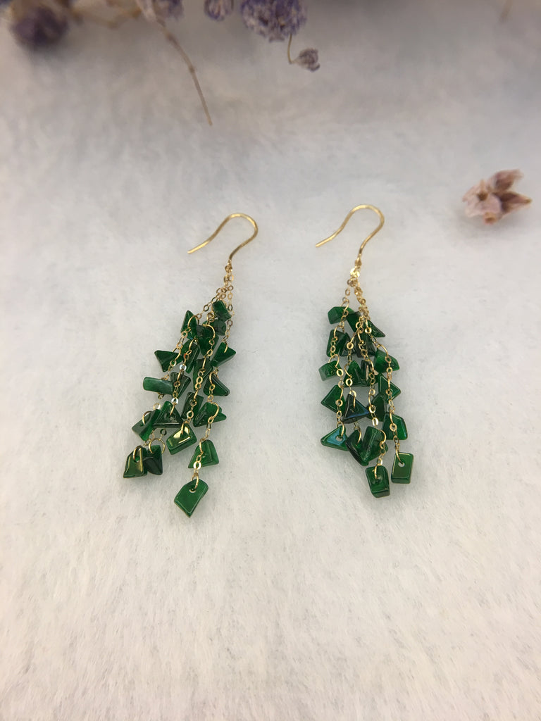 Green Jade Earrings - Irregular (EA129)