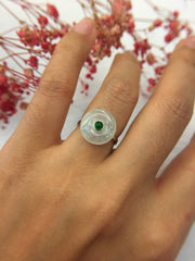 Icy With Green Jade Ring - Safety Coin (RI156)