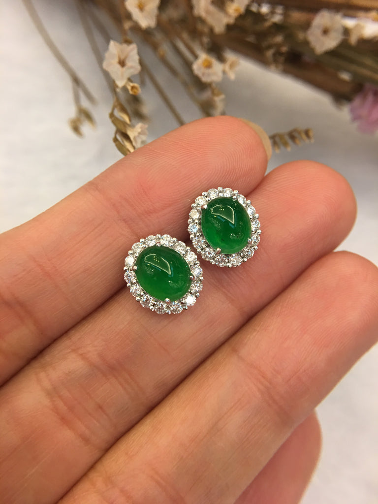 Green Jade Earrings - Cabochon (EA229)