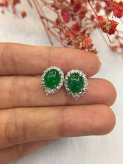 Green Jade Earrings - Cabochon (EA119)
