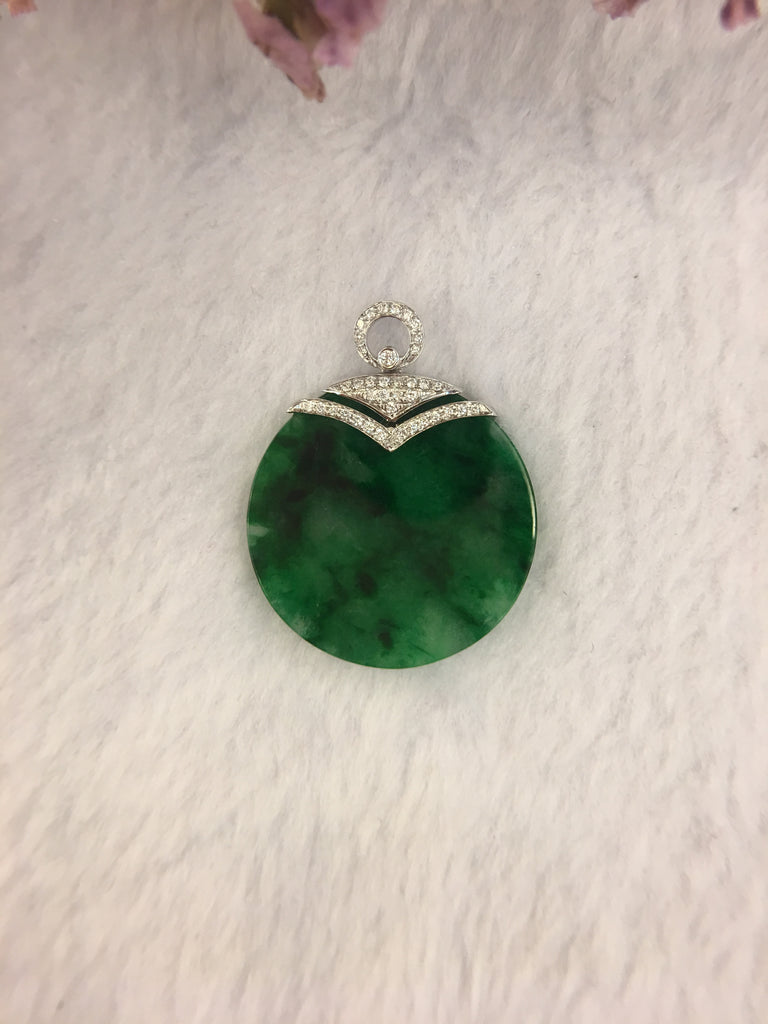 Green Jade Pendant - Safety Coin (PE223)