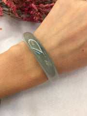 Icy Green Jade Bangle - Round (BA222)