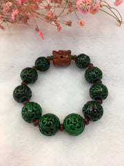 Dark Green Jade Balls Bracelet - Carved (BR169)