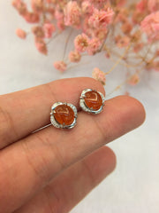 Icy Red Jade Cabochon Earrings (EA033)