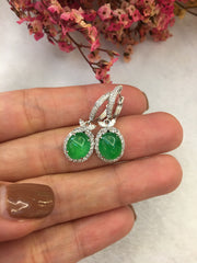 Green Jade Earrings - Cabochon (EA166)