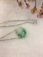 Green Jade Necklace - Flower (NE054)