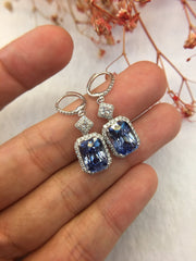 Natural Blue Sapphire Earrings (Unheated) (GE060)