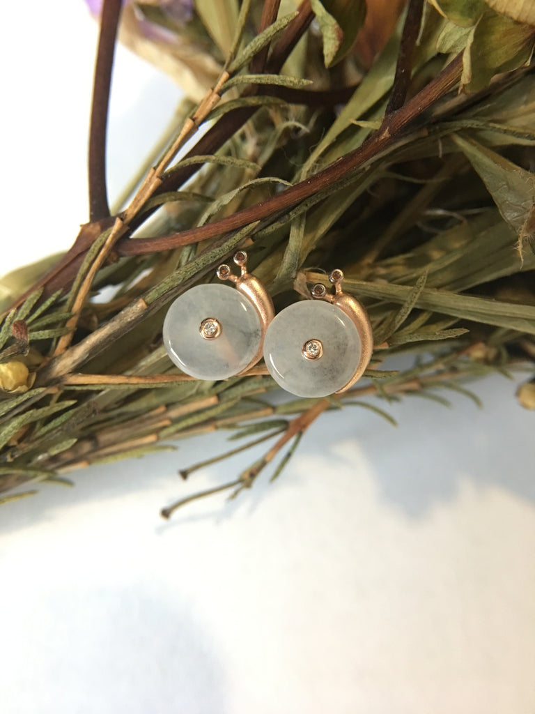 Icy Jade Safety Coin Earrings - Snail (EA084)