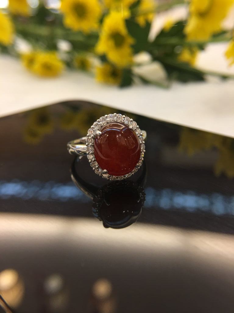 Red Jade Cabochon Ring (RI017)