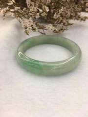 Icy Light Green Jade Bangle - Round (BA152)