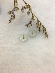 Icy White Jade Earrings - Safety Coin (EA273)
