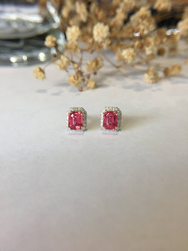 Natural Pink Spinel Earrings (GE112)