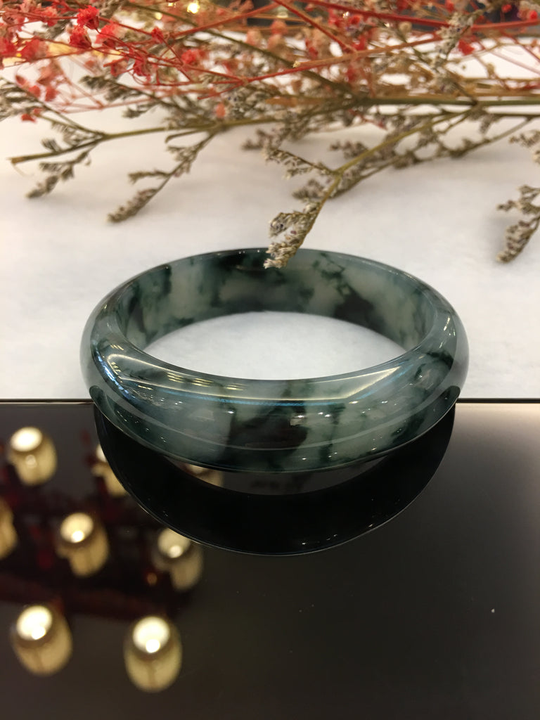 Bluish Flower Jade Bangle - Round (BA133)