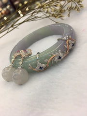 Lavender With Green Jade Bangle
